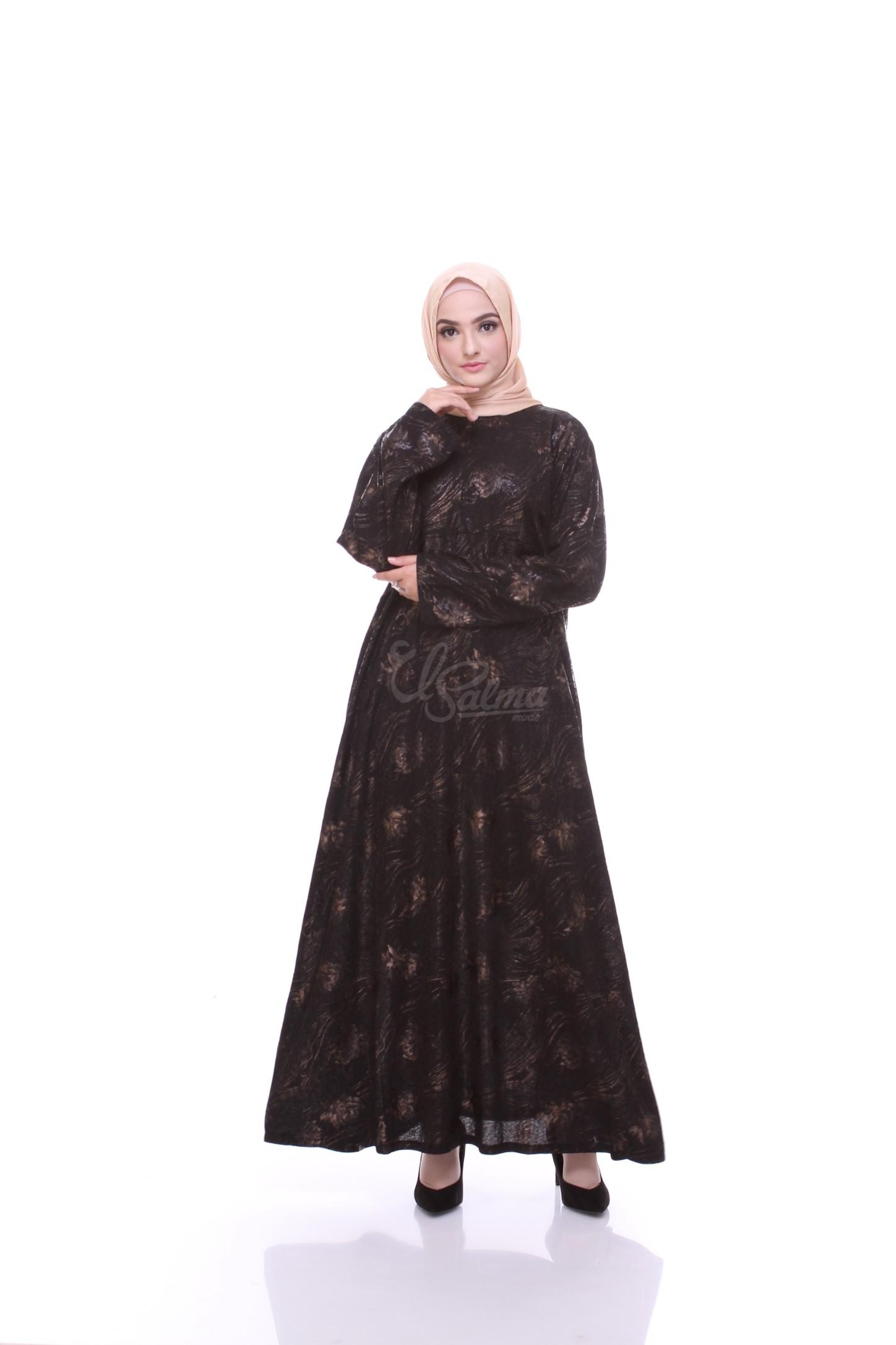 Baju Gamis Long Dress Hitam  Bahan Sparkel Jaguar Adem  Motif Flower  Emboss Emas  El-Salma Mode